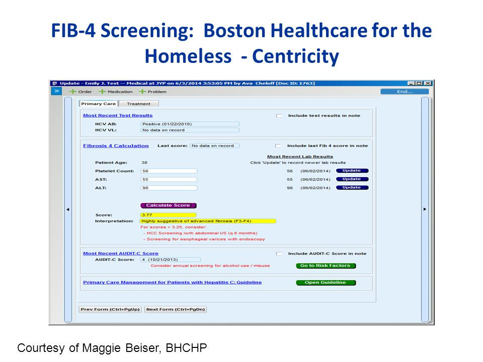 FIB-4 Screening: Boston Healthcare for the Homeless - Centricity Courtesy of Maggie Beiser, BHCHP