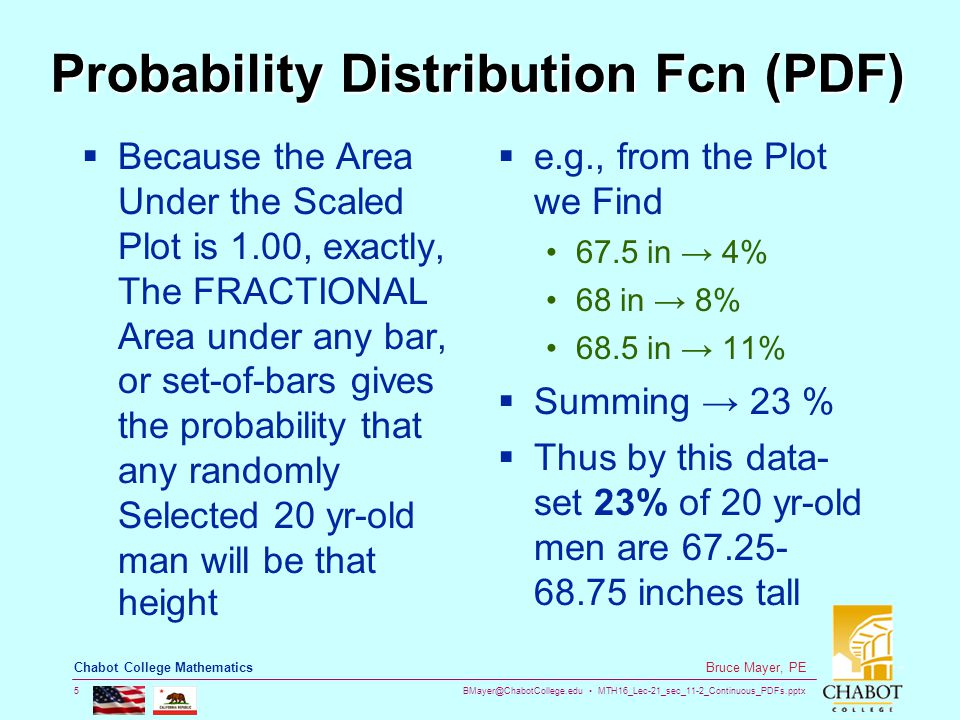 BMayer@ChabotCollege.edu MTH16_Lec-21_sec_11-2_Continuous_PDFs.pptx 5 Bruce Mayer, PE Chabot College Mathematics Probability Distribution Fcn (PDF)  Because the Area Under the Scaled Plot is 1.00, exactly, The FRACTIONAL Area under any bar, or set-of-bars gives the probability that any randomly Selected 20 yr-old man will be that height  e.g., from the Plot we Find 67.5 in → 4% 68 in → 8% 68.5 in → 11%  Summing → 23 %  Thus by this data- set 23% of 20 yr-old men are 67.25- 68.75 inches tall