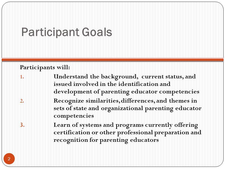 Participant Goals Participants will: 1.