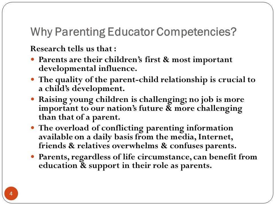 Examples of Sets of Parenting Educator Competencies 1.