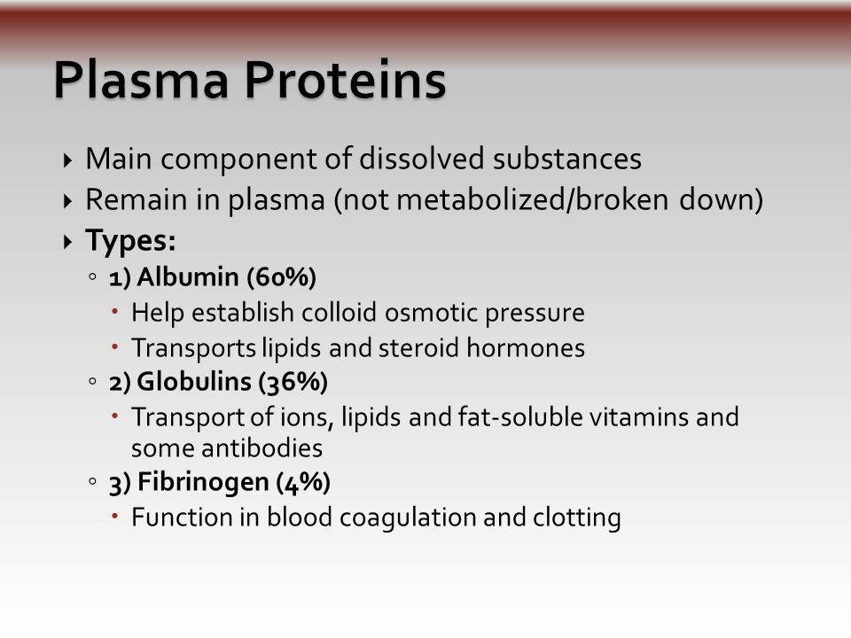  Main component of dissolved substances  Remain in plasma (not metabolized/broken down)  Types: ◦ 1) Albumin (60%)  Help establish colloid osmotic