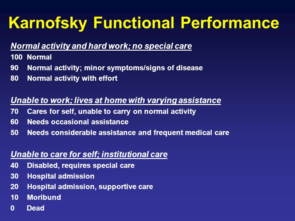 Karnofsky Functional Performance Normal activity and hard work; no special care 100 Normal 90 Normal activity; minor symptoms/signs of disease 80 Norm