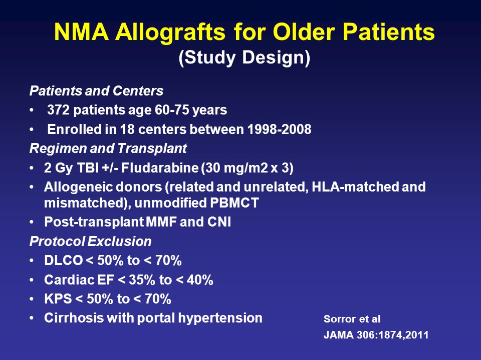 NMA Allografts for Older Patients (Study Design) Patients and Centers 372 patients age 60-75 years Enrolled in 18 centers between 1998-2008 Regimen an