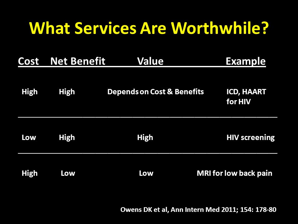 What Services Are Worthwhile? Cost Net BenefitValue Example High HighDepends on Cost & BenefitsICD, HAART for HIV ____________________________________