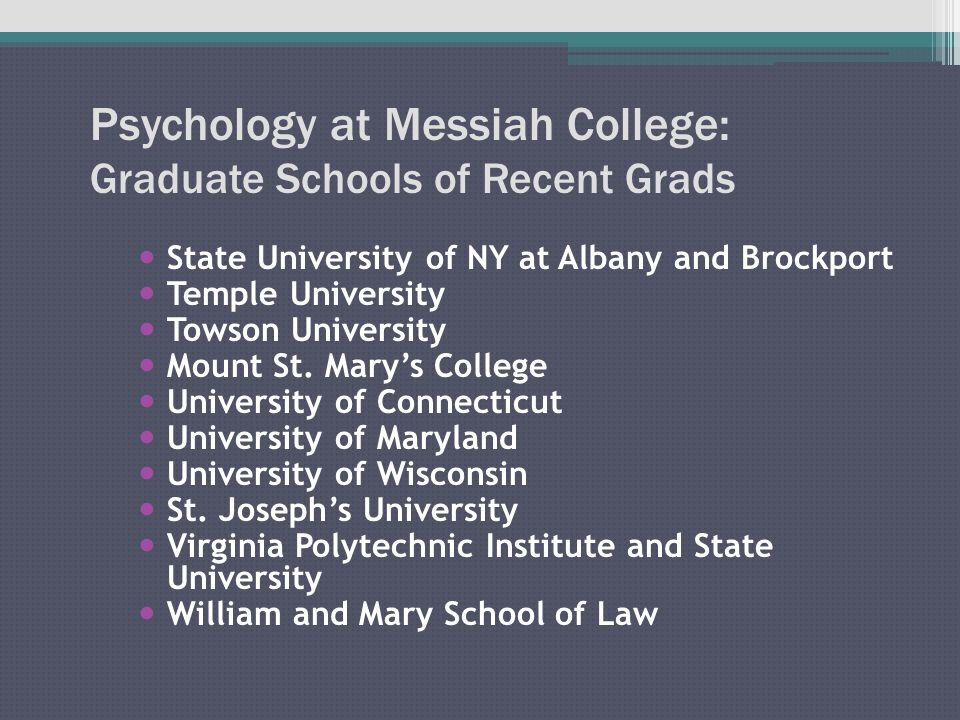 Psychology at Messiah College: Graduate Schools of Recent Grads State University of NY at Albany and Brockport Temple University Towson University Mount St.