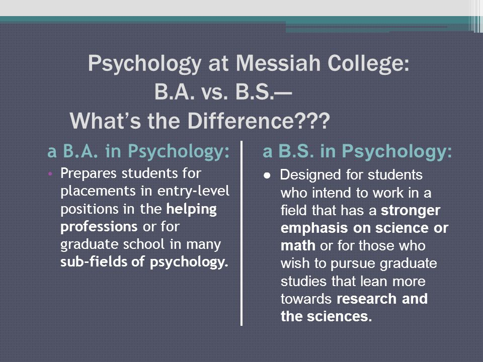 Psychology at Messiah College: Division of Credits for the B.A. & B.S. in Psychology