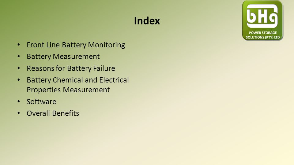 Index Front Line Battery Monitoring Battery Measurement Reasons for Battery Failure Battery Chemical and Electrical Properties Measurement Software Ov