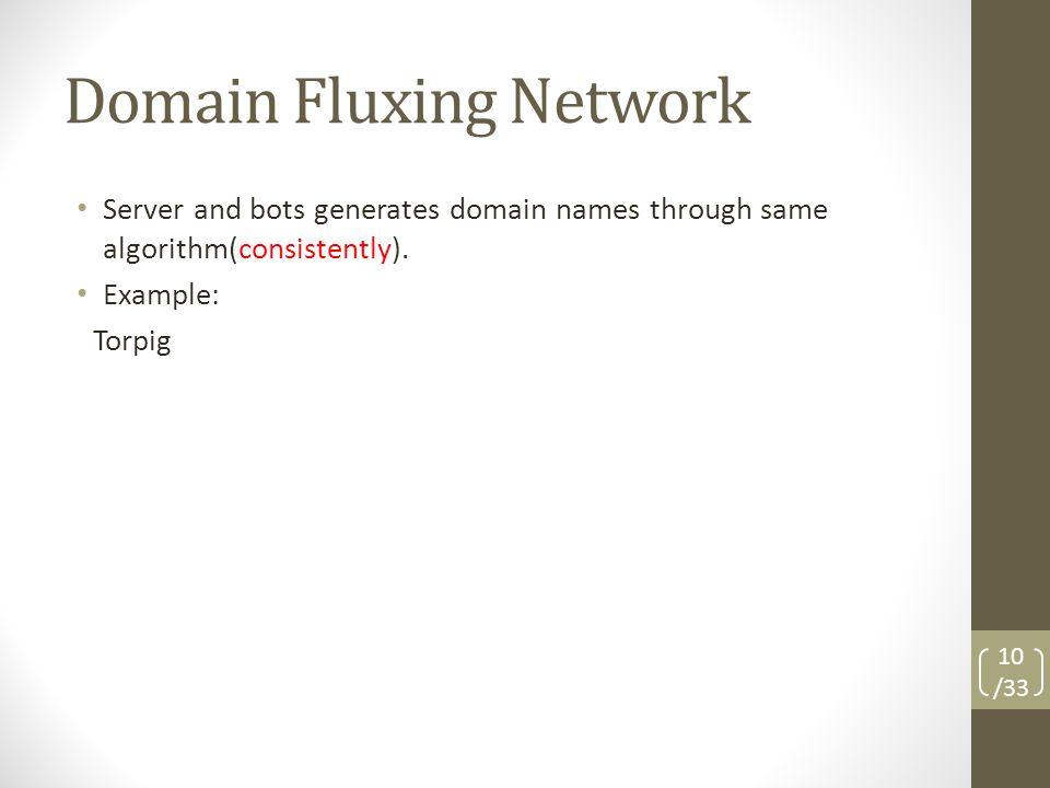 Domain Fluxing Network Server and bots generates domain names through same algorithm(consistently).