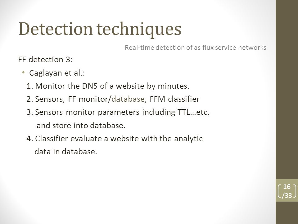 Detection techniques FF detection 3: Caglayan et al.: 1.
