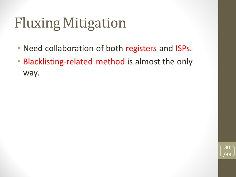 Fluxing Mitigation Need collaboration of both registers and ISPs.