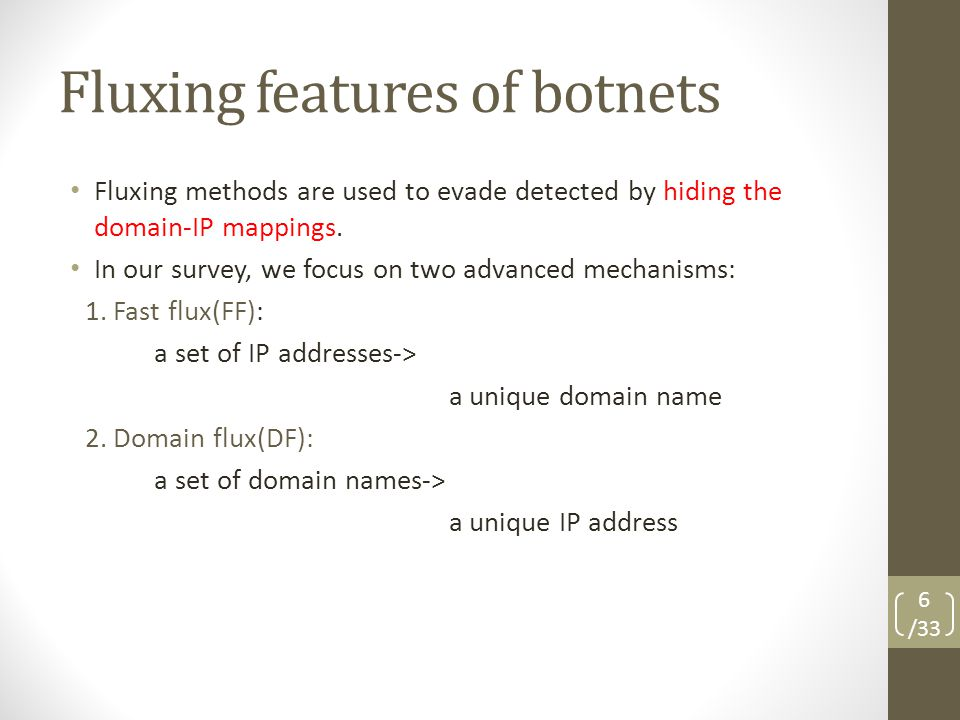 Fluxing features of botnets Fluxing methods are used to evade detected by hiding the domain-IP mappings.