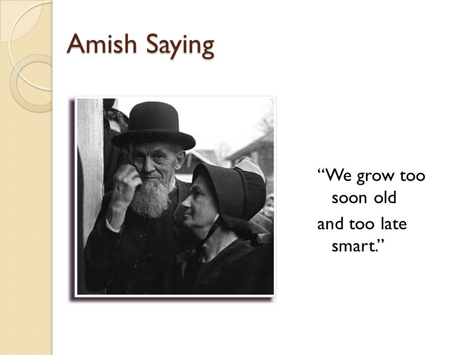 Amish Saying We grow too soon old and too late smart.