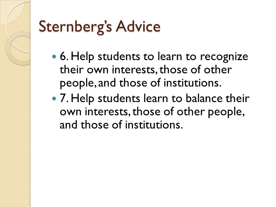Sternberg's Advice 6.
