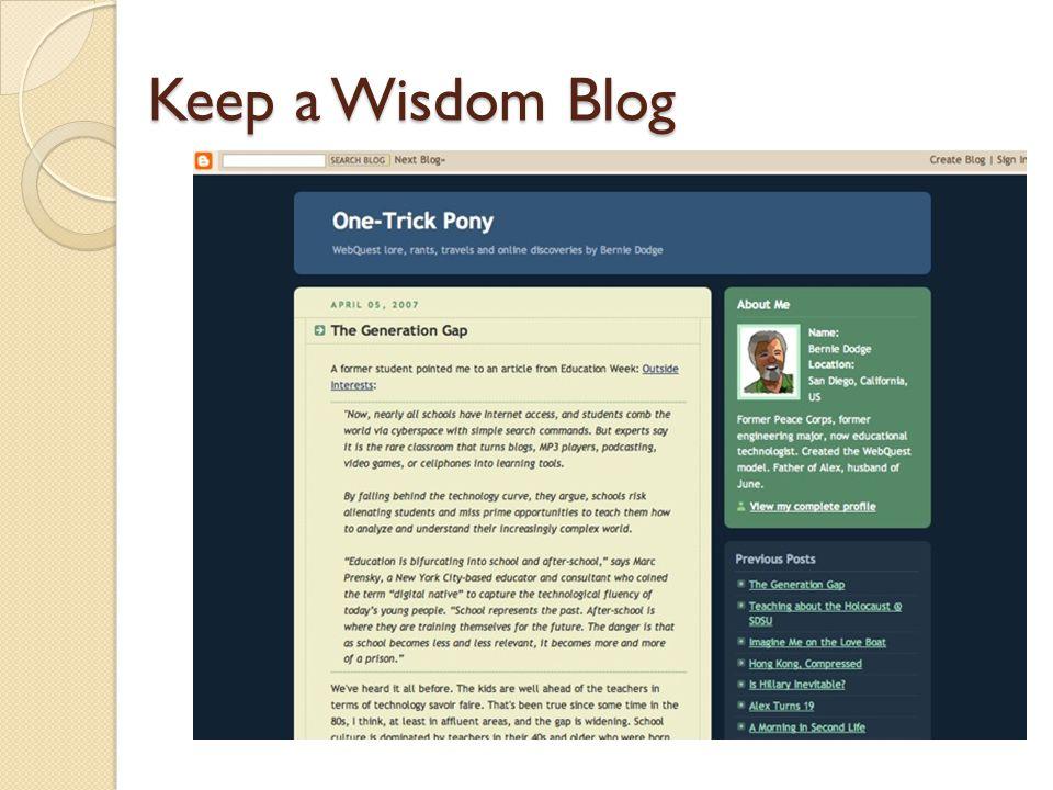 Keep a Wisdom Blog