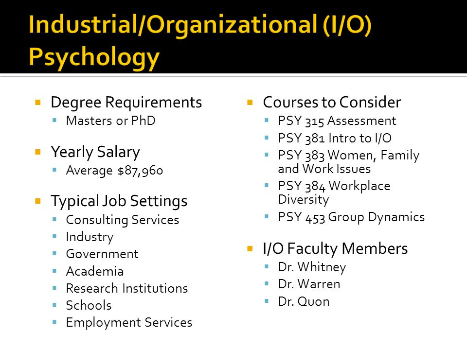  Degree Requirements  Masters or PhD  Yearly Salary  Average $87,960  Typical Job Settings  Consulting Services  Industry  Government  Academia  Research Institutions  Schools  Employment Services  Courses to Consider  PSY 315 Assessment  PSY 381 Intro to I/O  PSY 383 Women, Family and Work Issues  PSY 384 Workplace Diversity  PSY 453 Group Dynamics  I/O Faculty Members  Dr.