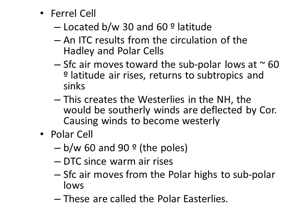 Ferrel Cell – Located b/w 30 and 60 º latitude – An ITC results from the circulation of the Hadley and Polar Cells – Sfc air moves toward the sub-polar lows at ~ 60 º latitude air rises, returns to subtropics and sinks – This creates the Westerlies in the NH, the would be southerly winds are deflected by Cor.