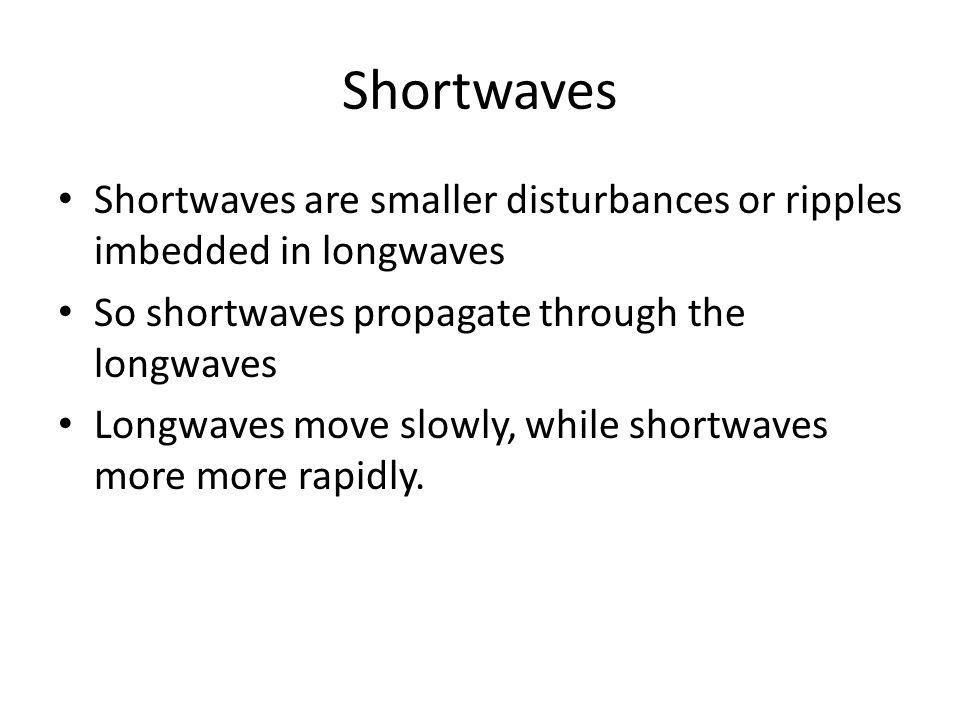 Shortwaves Shortwaves are smaller disturbances or ripples imbedded in longwaves So shortwaves propagate through the longwaves Longwaves move slowly, w