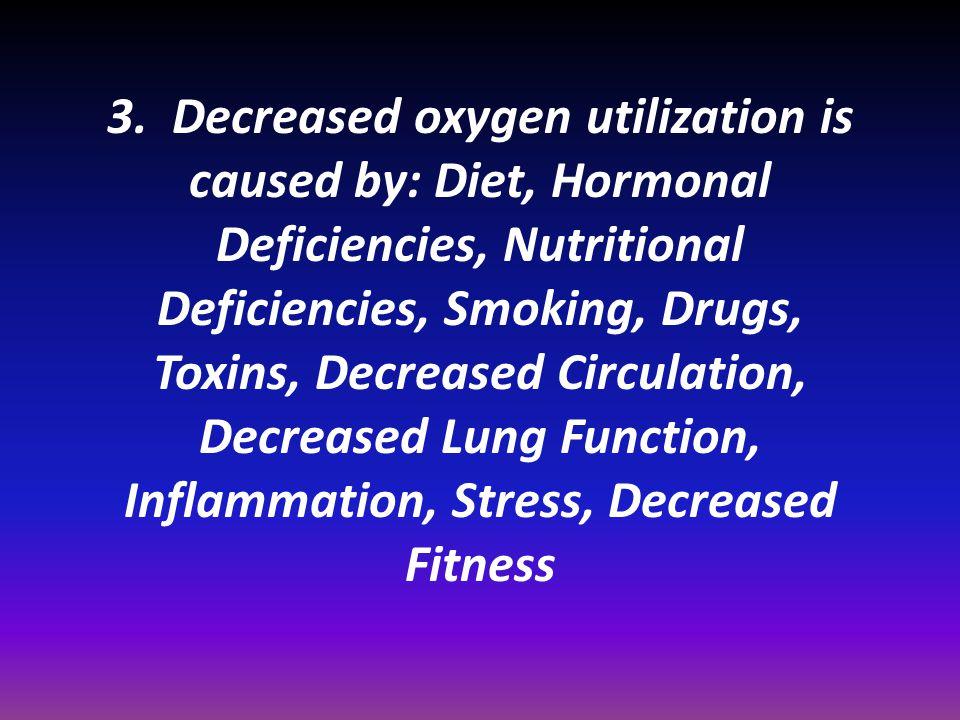 3. Decreased oxygen utilization is caused by: Diet, Hormonal Deficiencies, Nutritional Deficiencies, Smoking, Drugs, Toxins, Decreased Circulation, De