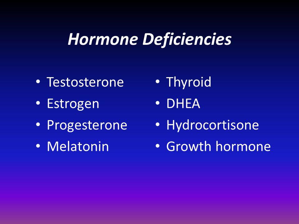Hormone Deficiencies Testosterone Estrogen Progesterone Melatonin Thyroid DHEA Hydrocortisone Growth hormone