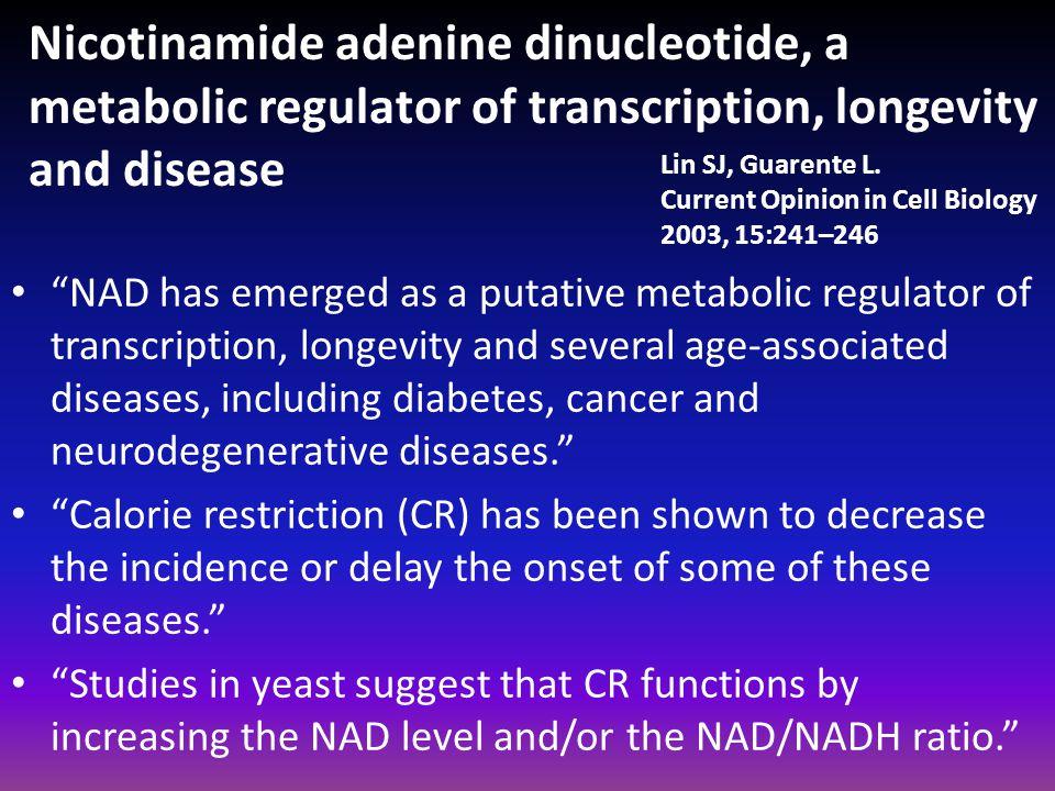 "Nicotinamide adenine dinucleotide, a metabolic regulator of transcription, longevity and disease ""NAD has emerged as a putative metabolic regulator of"
