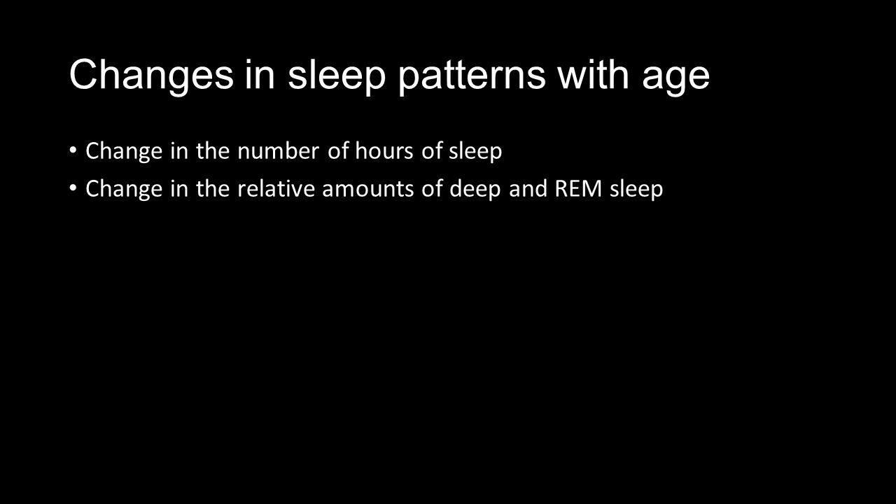 Changes in sleep patterns with age Change in the number of hours of sleep Change in the relative amounts of deep and REM sleep