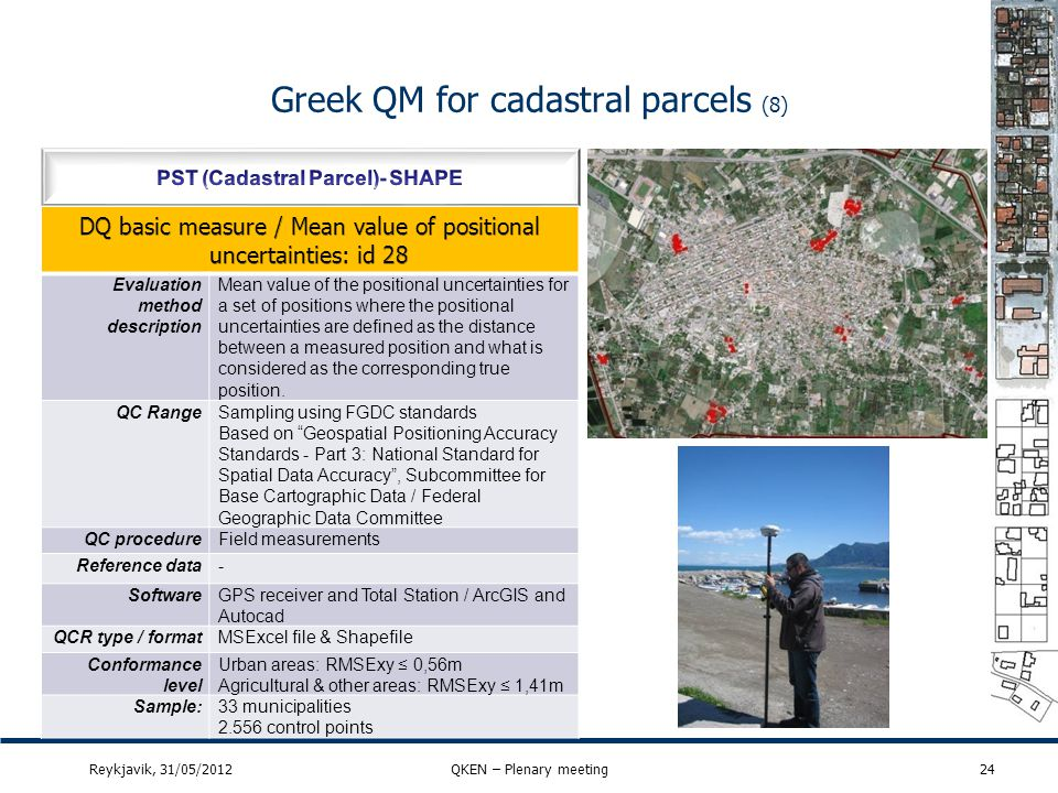 Greek QM for cadastral parcels (8) 24Reykjavik, 31/05/2012QKEN – Plenary meeting Evaluation method description Mean value of the positional uncertaint
