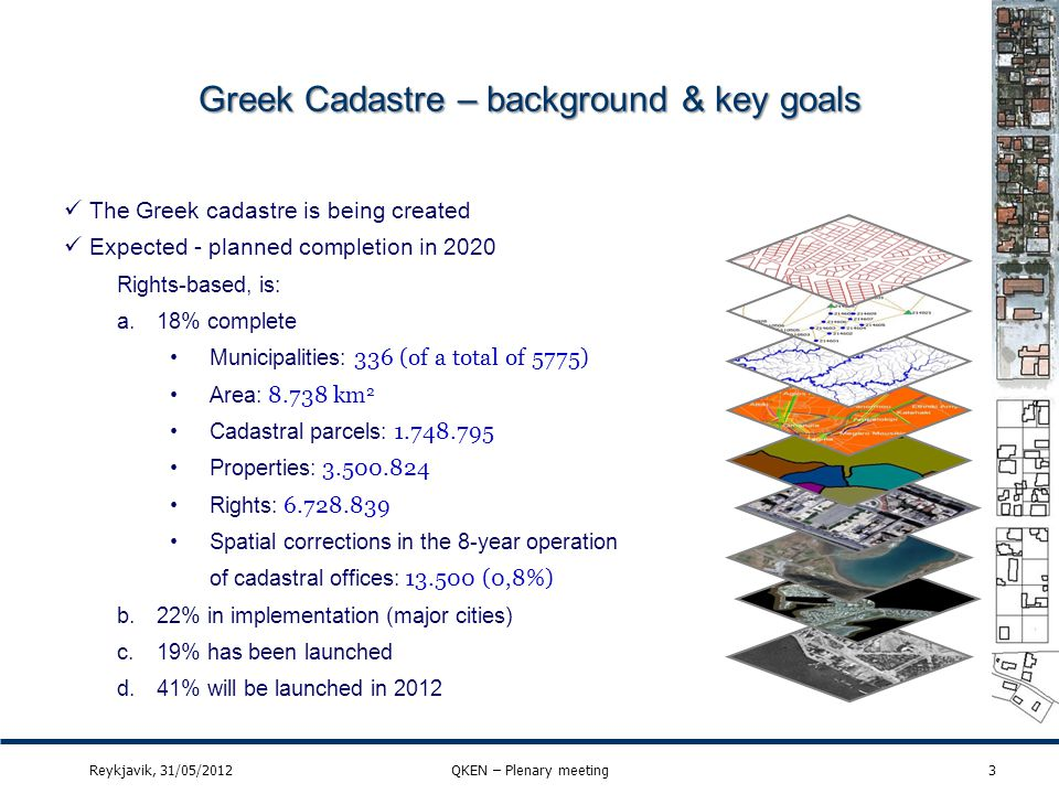 Greek QM for cadastral parcels (8) 24Reykjavik, 31/05/2012QKEN – Plenary meeting Evaluation method description Mean value of the positional uncertainties for a set of positions where the positional uncertainties are defined as the distance between a measured position and what is considered as the corresponding true position.