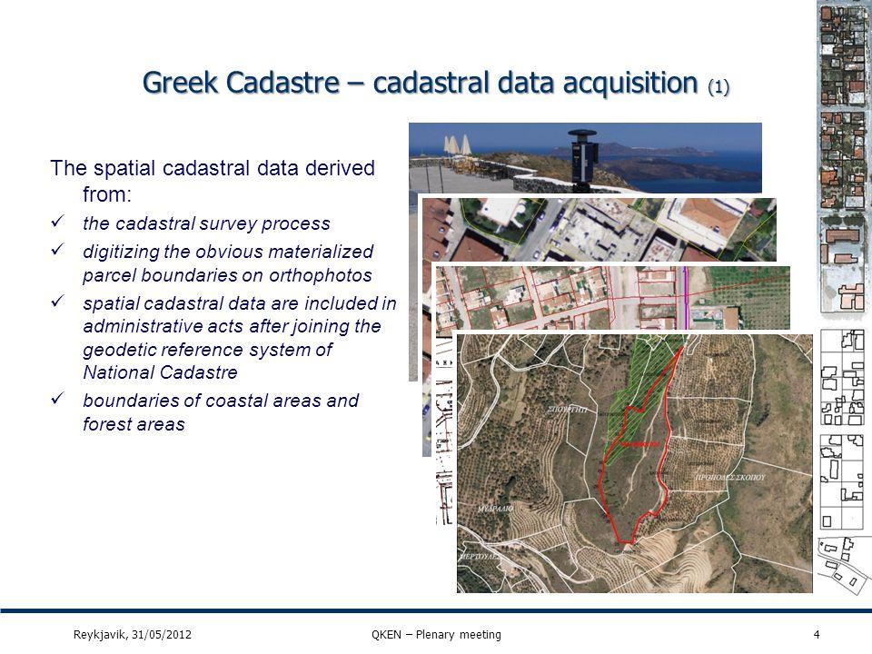 Greek Cadastre GCM vs INSPIRE GCM (2) Reykjavik, 31/05/2012QKEN – Plenary meeting15 Temporal information is also available identified in data model for every Cz part of 140210914 09 14 dataset Cadastral diagram