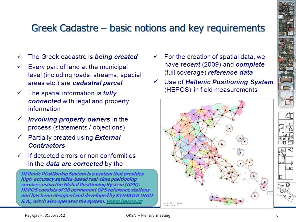 Greek Cadastre – basic notions and key requirements 6 The Greek cadastre is being created Every part of land at the municipal level (including roads,
