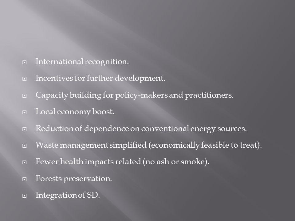  International recognition.  Incentives for further development.