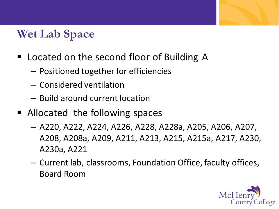Wet Lab Space  Located on the second floor of Building A – Positioned together for efficiencies – Considered ventilation – Build around current locat