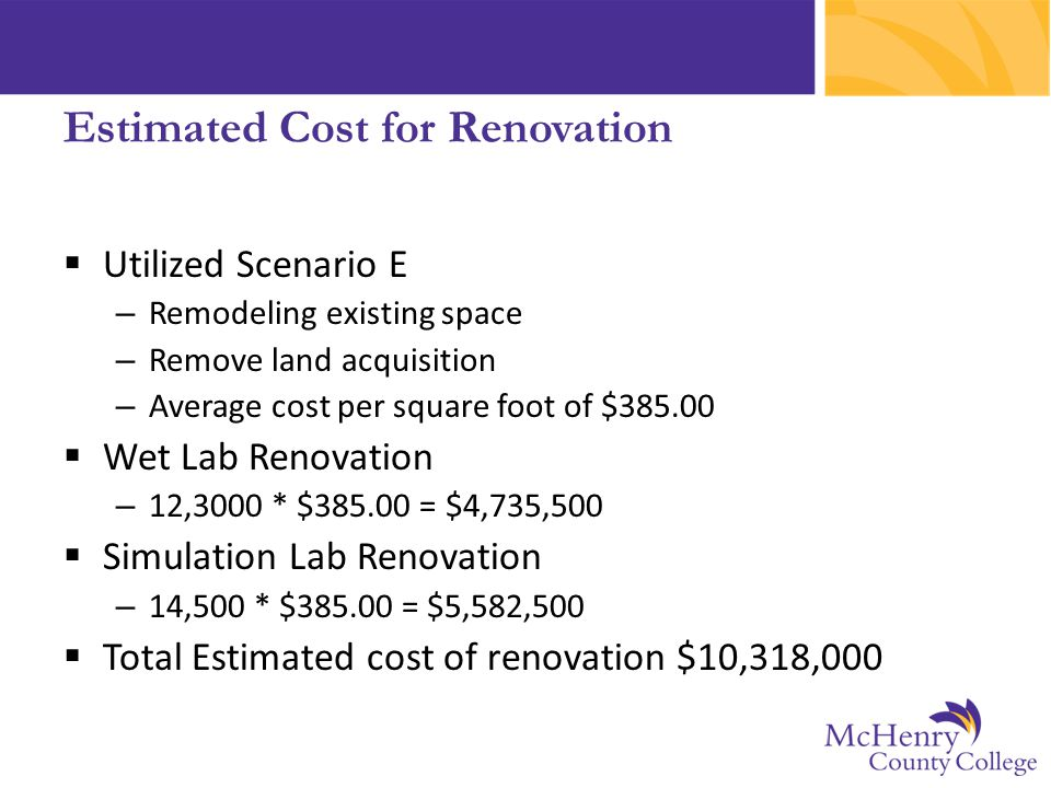 Estimated Cost for Renovation  Utilized Scenario E – Remodeling existing space – Remove land acquisition – Average cost per square foot of $385.00 