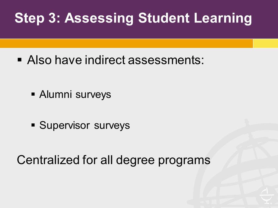 Step 3: Assessing Student Learning  Also have indirect assessments:  Alumni surveys  Supervisor surveys Centralized for all degree programs