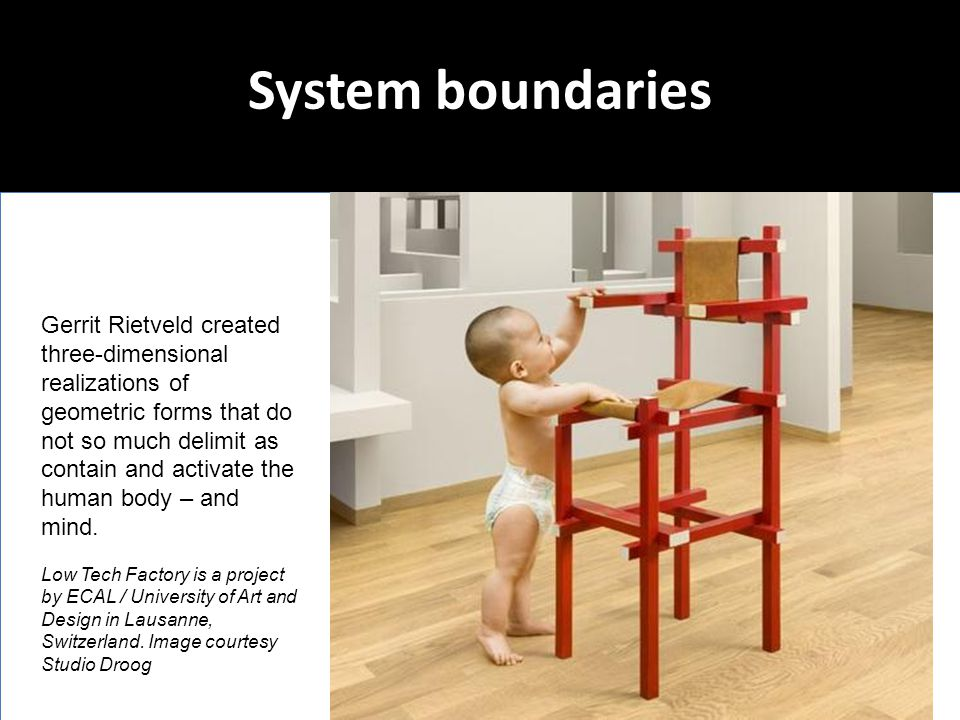 System boundaries Gerrit Rietveld created three-dimensional realizations of geometric forms that do not so much delimit as contain and activate the hu