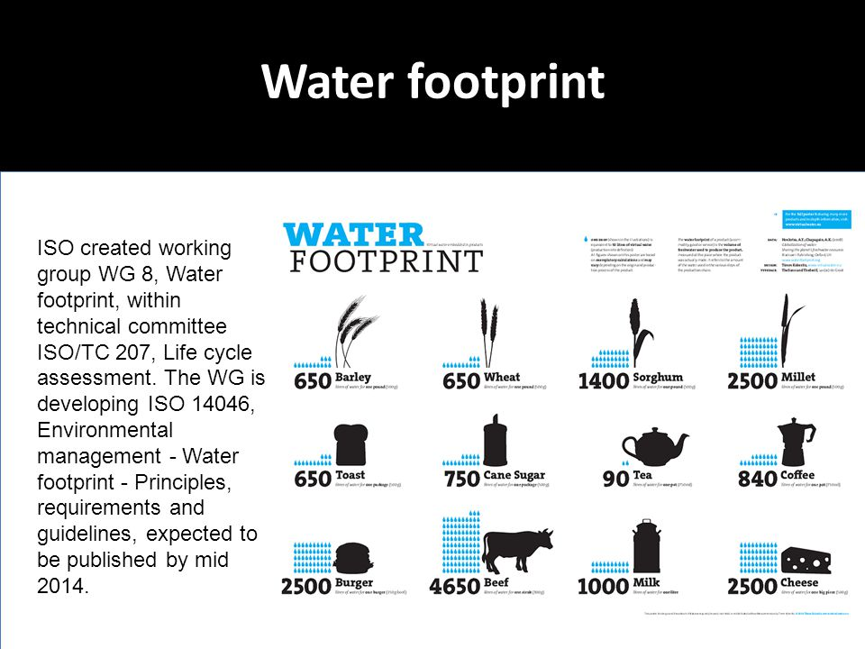 Water footprint ISO created working group WG 8, Water footprint, within technical committee ISO/TC 207, Life cycle assessment. The WG is developing IS