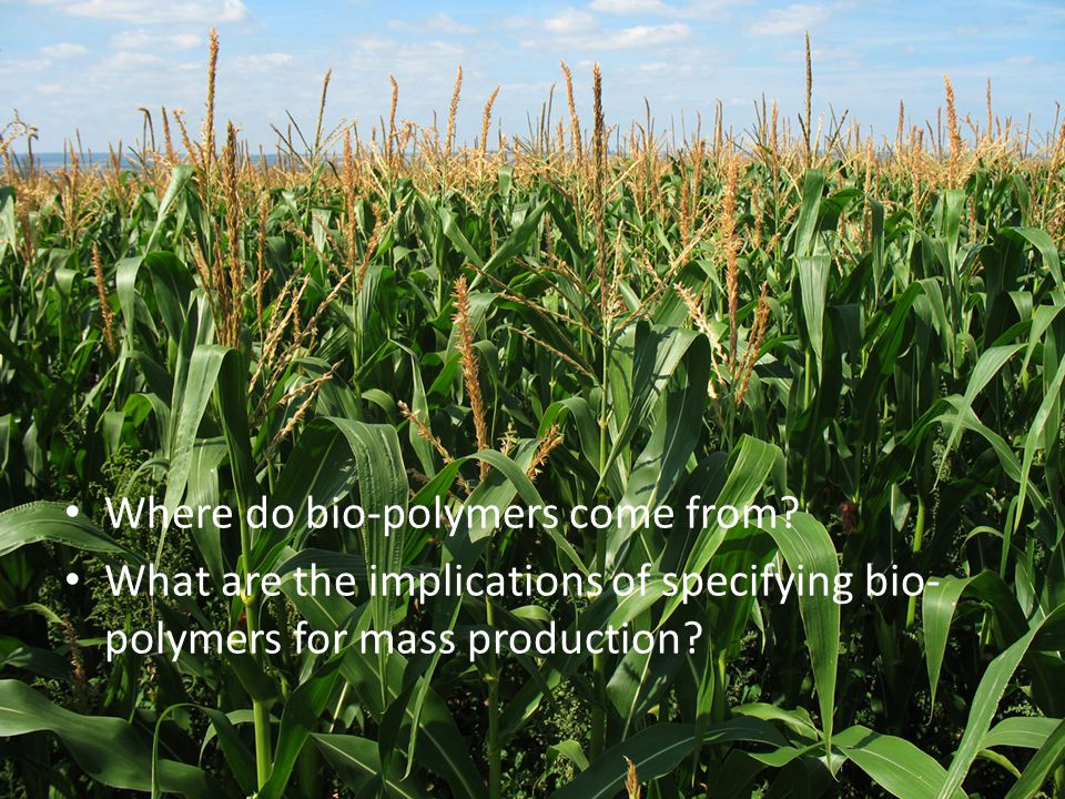 Polylactic acid (PLA) The most common bioplastic in use today. – Corn or other raw materials are fermented to produce lactic acid, which is then polym