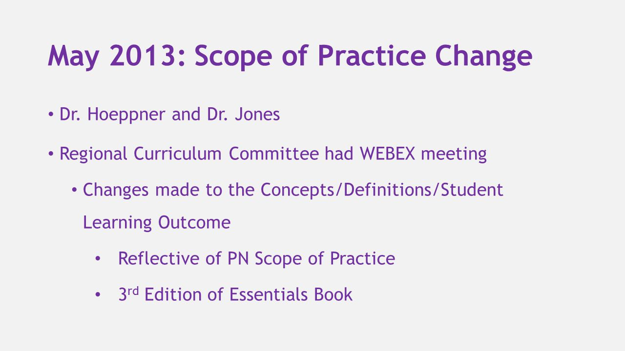 May 2013: Scope of Practice Change Dr. Hoeppner and Dr. Jones Regional Curriculum Committee had WEBEX meeting Changes made to the Concepts/Definitions