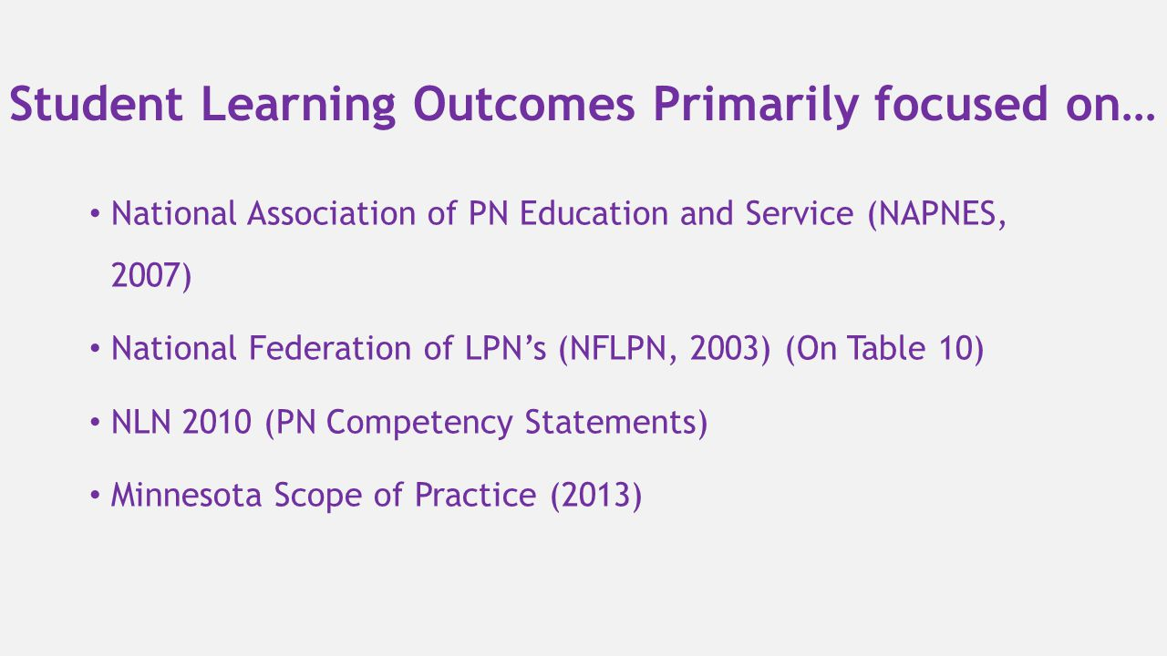 Student Learning Outcomes Primarily focused on… National Association of PN Education and Service (NAPNES, 2007) National Federation of LPN's (NFLPN, 2
