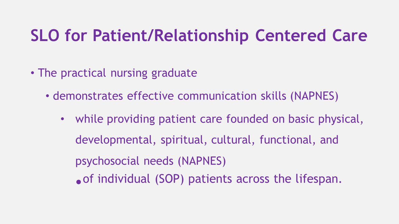 SLO for Patient/Relationship Centered Care The practical nursing graduate demonstrates effective communication skills (NAPNES) while providing patient