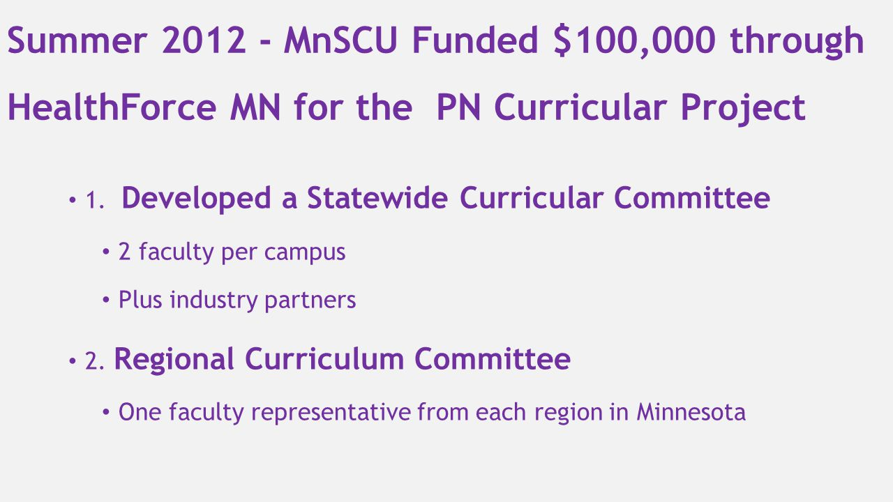 Summer 2012 - MnSCU Funded $100,000 through HealthForce MN for the PN Curricular Project 1. Developed a Statewide Curricular Committee 2 faculty per c