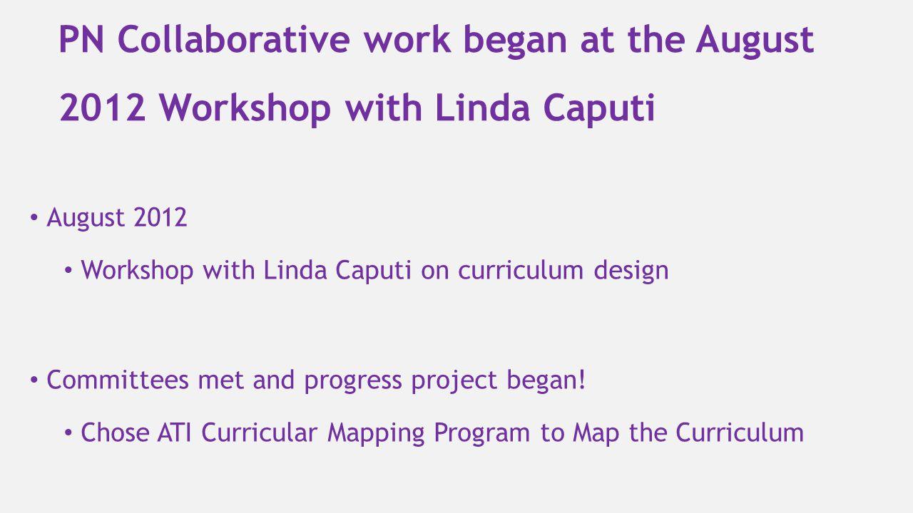 PN Collaborative work began at the August 2012 Workshop with Linda Caputi August 2012 Workshop with Linda Caputi on curriculum design Committees met a