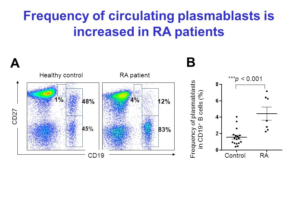 Frequency of plasmablasts in CD19 + B cells (%) B A 4% 83% 12% CD27 CD19 1% 48% 45% Healthy controlRA patient ControlRA ***p < 0.001 Frequency of circulating plasmablasts is increased in RA patients