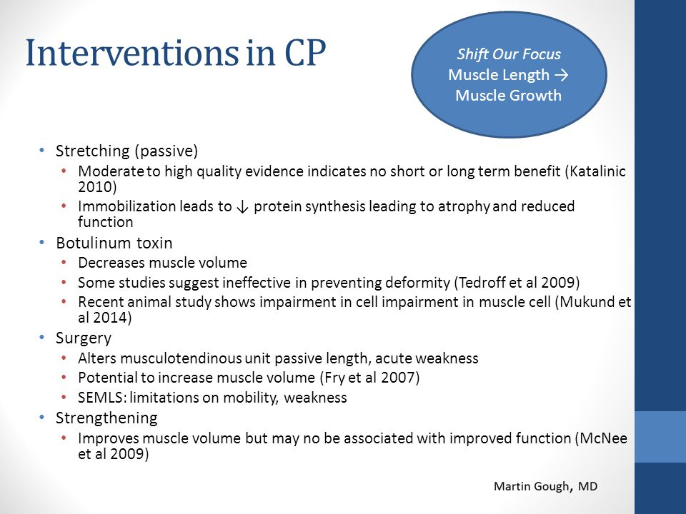 Interventions in CP Stretching (passive) Moderate to high quality evidence indicates no short or long term benefit (Katalinic 2010) Immobilization lea