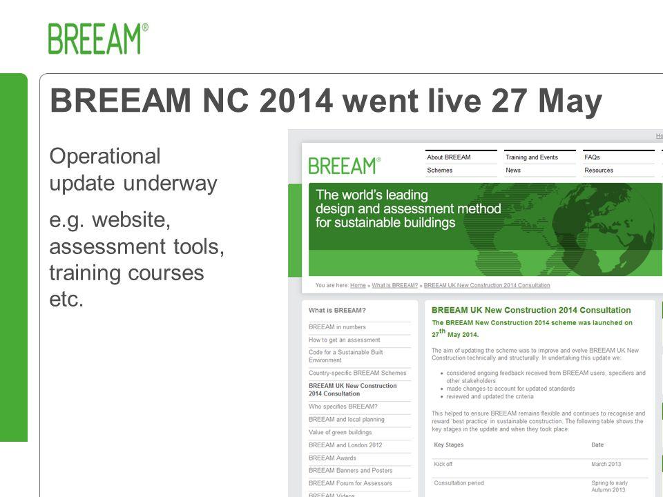 BREEAM NC 2014 went live 27 May Operational update underway e.g.