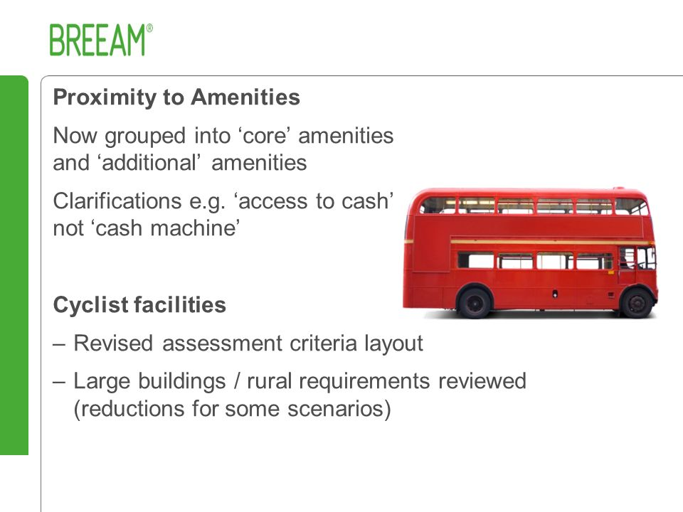 Proximity to Amenities Now grouped into 'core' amenities and 'additional' amenities Clarifications e.g.