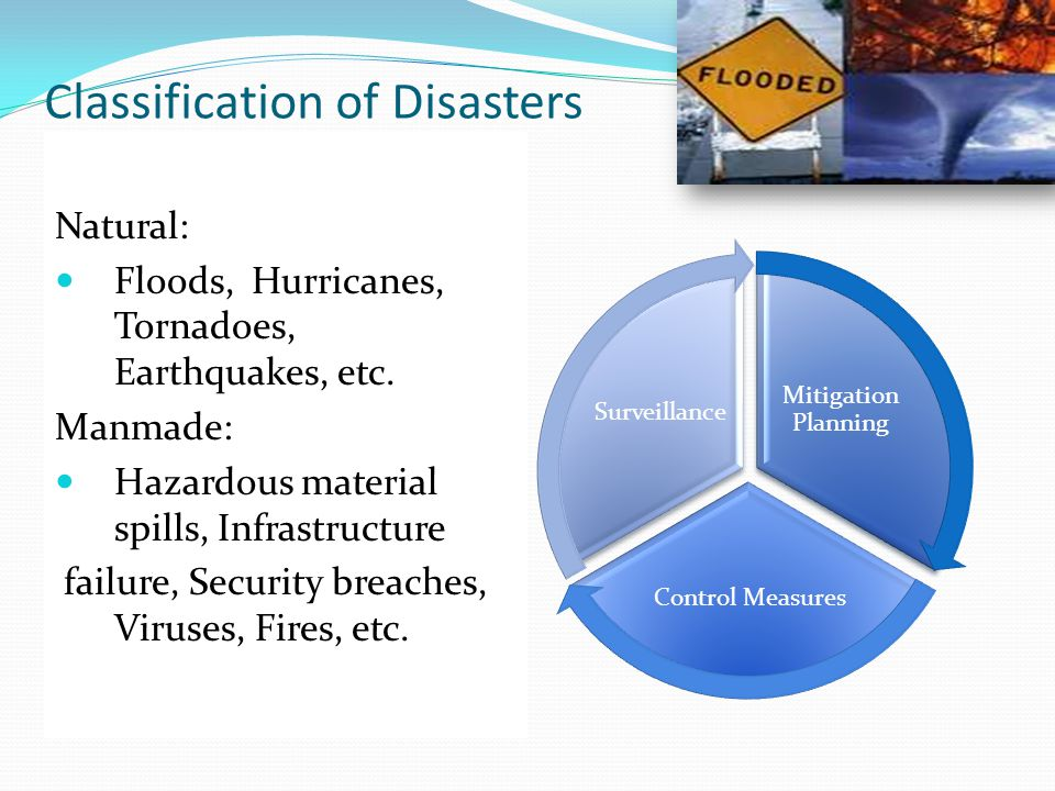 Classification of Disasters Natural: Floods, Hurricanes, Tornadoes, Earthquakes, etc.