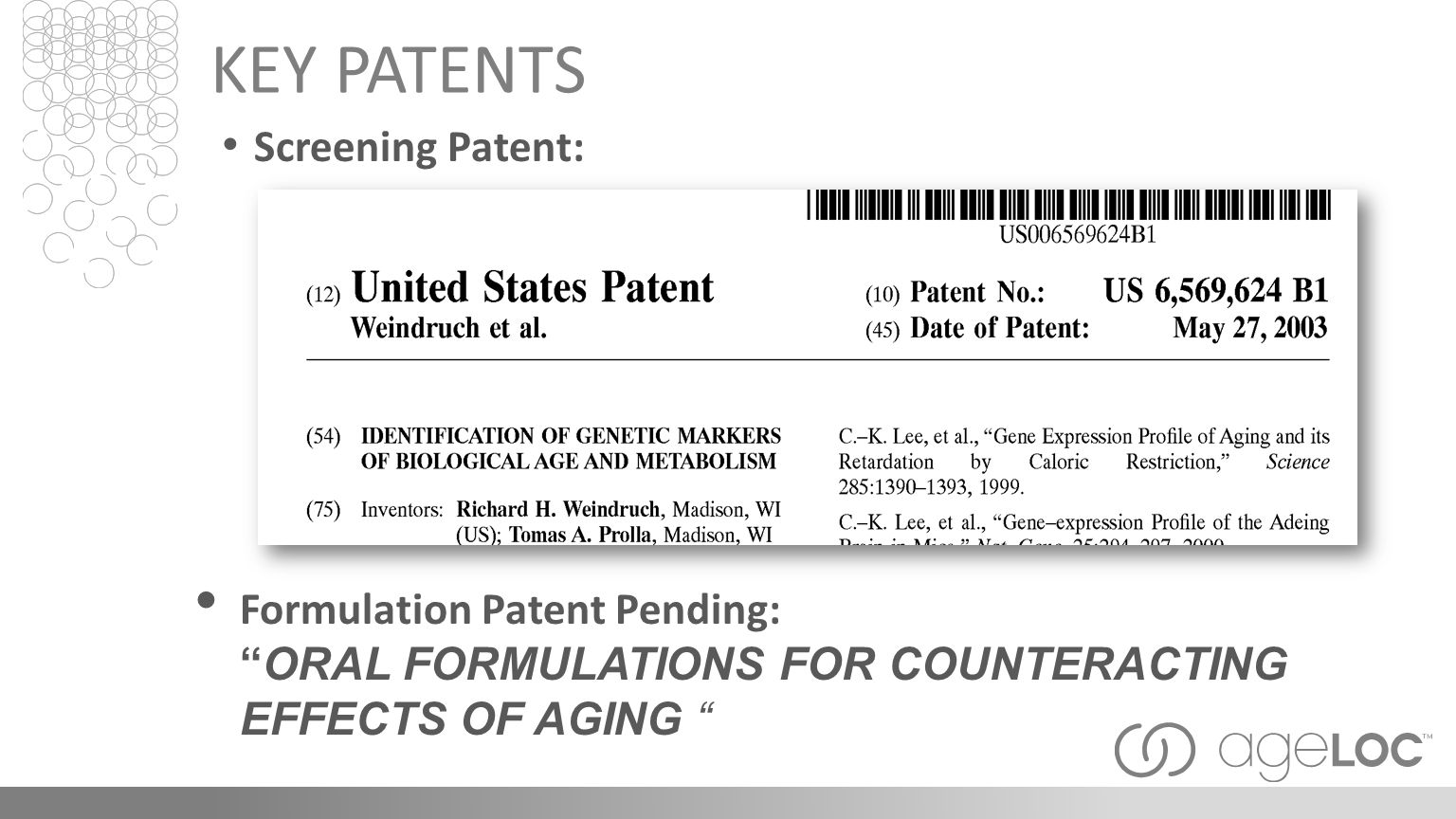 KEY PATENTS Screening Patent: Formulation Patent Pending: ORAL FORMULATIONS FOR COUNTERACTING EFFECTS OF AGING