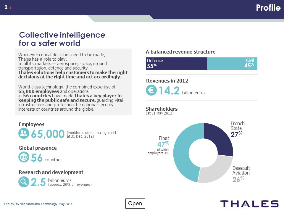 2 / Open Profile Thales UK Research and Technology May 2014 Whenever critical decisions need to be made, Thales has a role to play.
