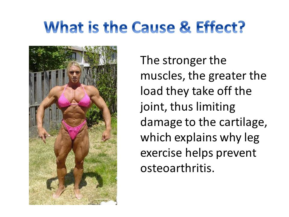 The stronger the muscles, the greater the load they take off the joint, thus limiting damage to the cartilage, which explains why leg exercise helps p