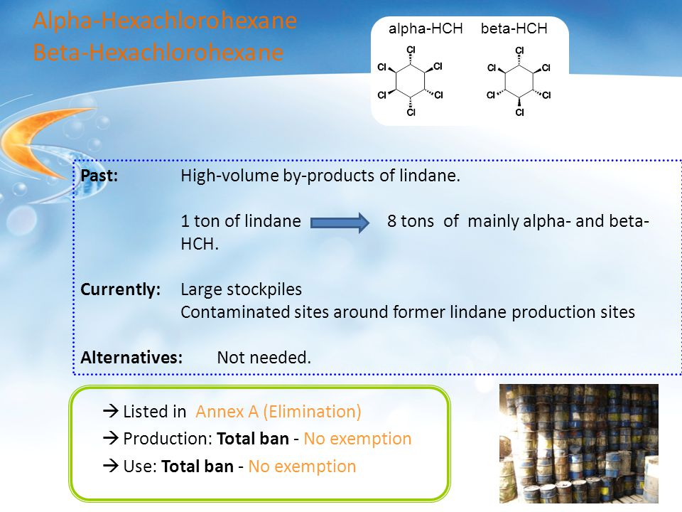  Listed in Annex A (Elimination)  Production: Total ban - No exemption  Use: Total ban - No exemption alpha-HCH beta-HCH Alpha-Hexachlorohexane Beta-Hexachlorohexane Past:High-volume by-products of lindane.